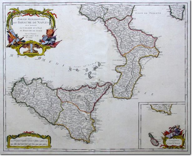 ROBERT DE VAUGONDY. Royaume de Naples. 1750